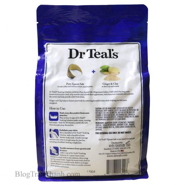Muối Epsom Dr Teal's Gừng & đất sét – Detoxify & Energize – 3lbs (1.36kg)