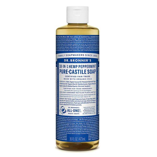 Xà phòng Castile bạc hà Dr. Bronner's - Pure-Castile Soap - Peppermint, 16 fl oz (473 ml)