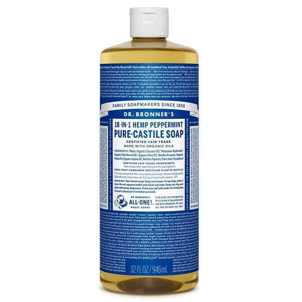 Xà phòng Castile bạc hà Dr. Bronner's - Pure-Castile Soap - Peppermint, 32 fl oz (944 ml)