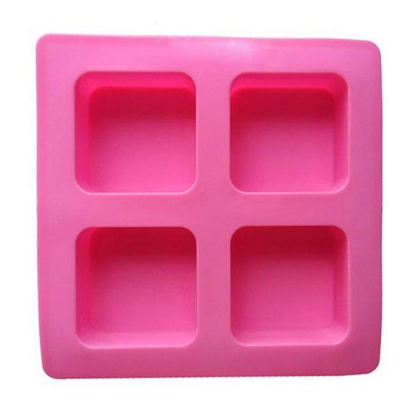 Khuôn làm bánh, xà phòng silicon, 4 bánh, hình vuông, góc tròn, 6.6 x 6.6 x 3 cm