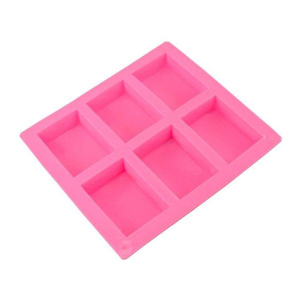 Khuôn xà phòng silicon, 6 bánh, hình chữ nhật, 8.12 x 5.58 x 2.5 cm