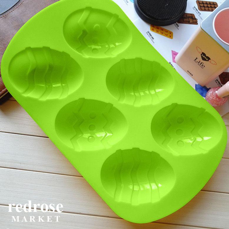 Khuôn làm bánh, xà phòng silicon, 6 bánh, hình trứng giáng sinh, 9.5 x 7 x 3 cm