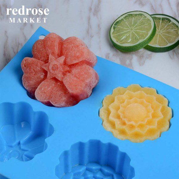 Khuôn làm bánh, xà phòng silicon, 6 bánh, hình hoa mùa xuân, 7 x 7 x 3.5 cm