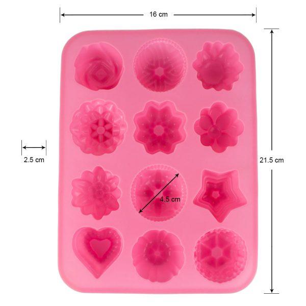 Khuôn silicon 12 bánh hình hoa, trái tim, ngôi sao, 4.5 x 4.5 x 2.5 cm, làm bánh, xà phòng