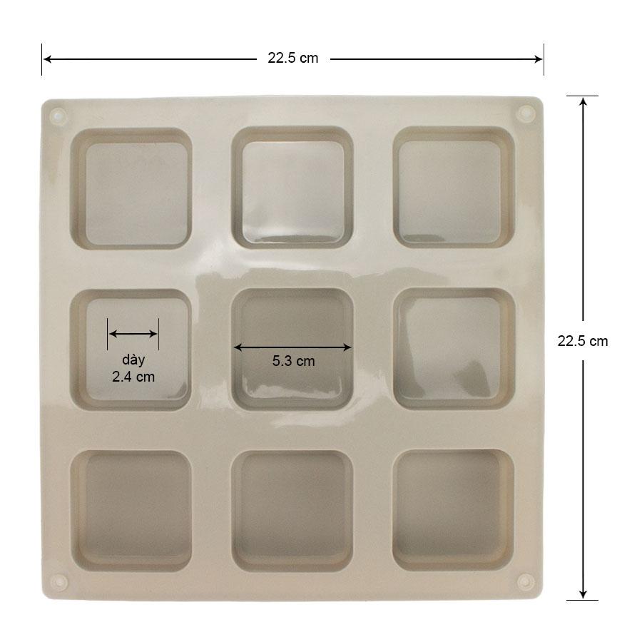 Khuôn silicon 9 bánh hình vuông, 22.5 x 22.5 x 2.5 cm, làm bánh, xà phòng